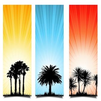 Drie zomer achtergronden met silhouetten van palmbomen