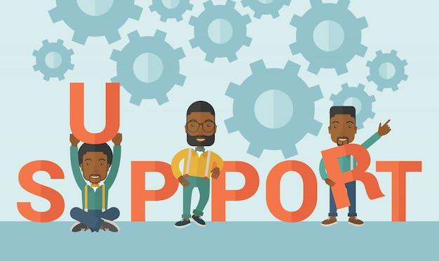 Drie zwarte mannen staan in de ondersteuning van het woord.