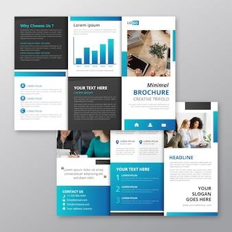 Driebladig minimaal brochureontwerp