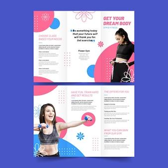 Driebladige brochure-afdruksjabloon krijgt uw droomlichaam