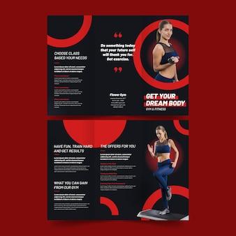 Driebladige brochure afdruksjabloon sport