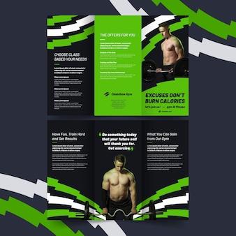 Driebladige brochure afdruksjabloon verbrandt calorieën