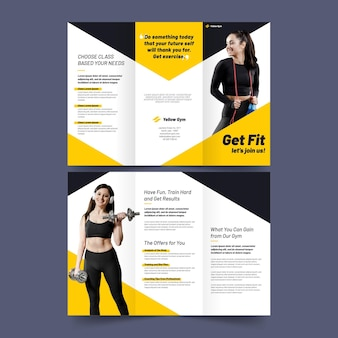 Driebladige brochure afdruksjabloon word fit sport