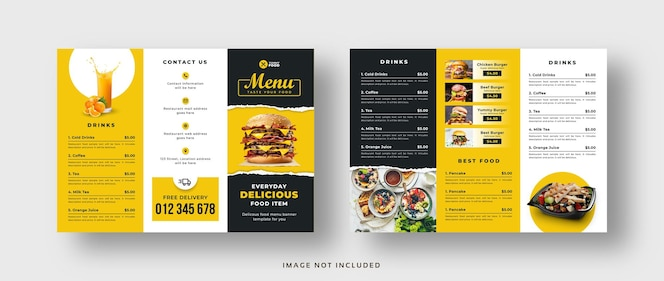 Driebladige brochure met voedselmenu voor restaurant