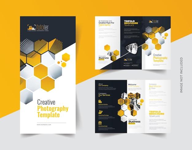 Driebladige brochure over fotografie