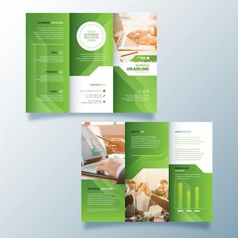 Driebladige brochuremalplaatje met foto