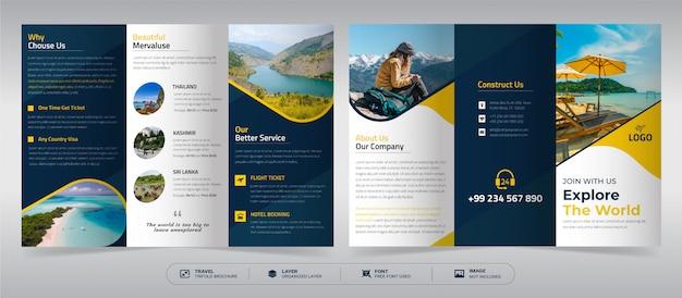 Driebladige brochuremalplaatje reizen