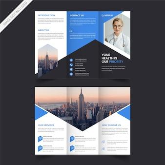 Driebladige brochureontwerp voor medische dienst of gezondheidszorg