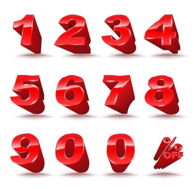 Driedimensionaal nummer ingesteld op 0-9 met een percentage uit