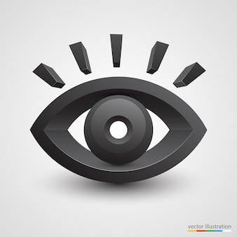 Driedimensionaal zwart oog op wit oppervlak.