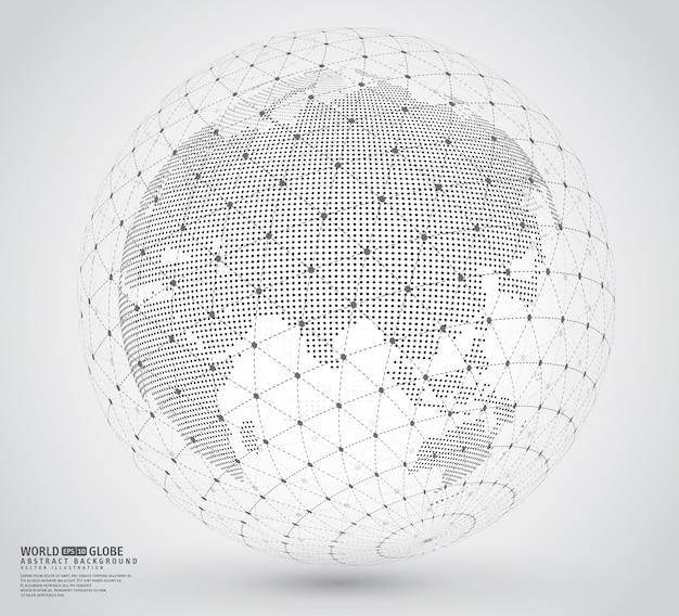 Driedimensionale gestippelde wereldkaart met wireframespare