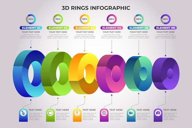 Driedimensionale ring infographic sjabloon