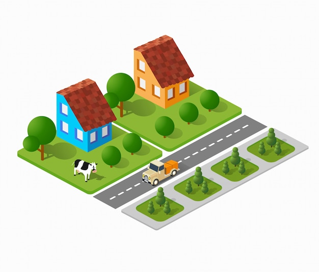 Driedimensionale stadsgebouwen, herenhuizen, huizen, supermarkten, wegen en straten.