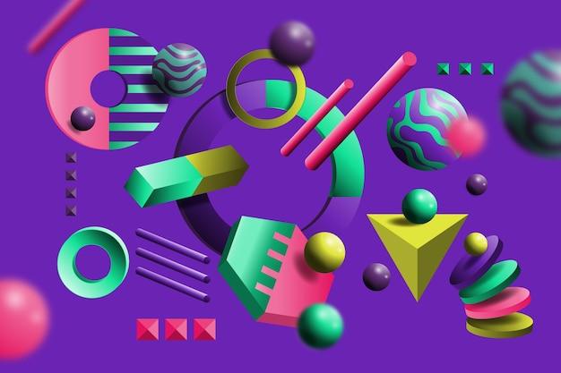 Driedimensionale vormen zwevende achtergrond