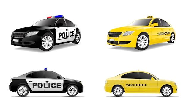 Driedimensioneel beeld van auto dat op witte achtergrond wordt geïsoleerd