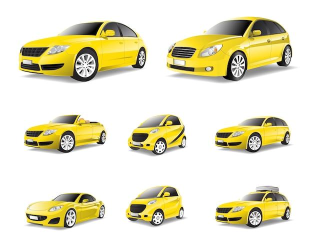 Driedimensioneel beeld van gele auto dat op witte achtergrond wordt geïsoleerd