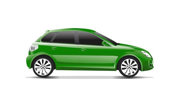 Driedimensioneel beeld van groene die auto op witte achtergrond wordt geïsoleerd