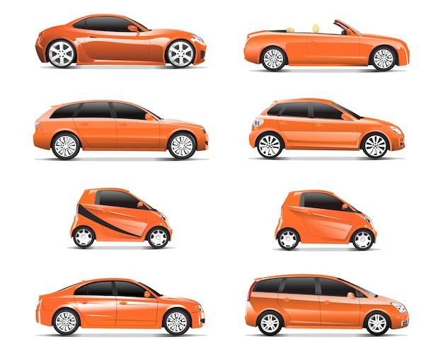 Driedimensioneel beeld van oranje die auto op witte achtergrond wordt geïsoleerd