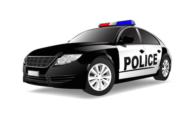 Driedimensioneel beeld van politiewagen op witte achtergrond wordt geïsoleerd die