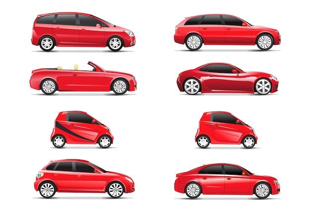 Driedimensioneel beeld van rode auto dat op witte achtergrond wordt geïsoleerd
