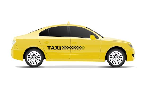Driedimensioneel beeld van taxiauto op witte achtergrond wordt geïsoleerd die