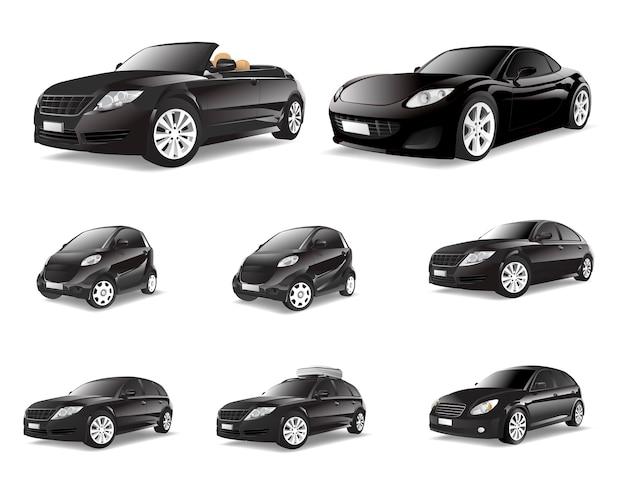 Driedimensioneel beeld van zwarte auto dat op witte achtergrond wordt geïsoleerd