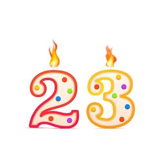 Drieëntwintig jaar verjaardag, 23 nummervormige verjaardagskaars met vuur op wit
