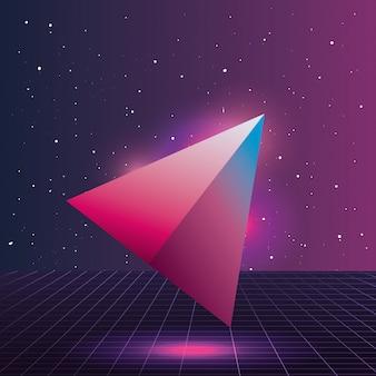 Driehoek 3d figuur neon achtergrond