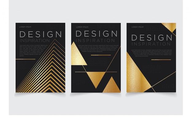 Driehoek donker gouden metalen modus flyer