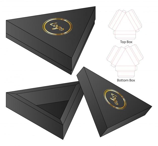 Driehoek doos verpakking gestanst sjabloonontwerp.