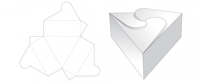 Driehoek geschenkdoos gesneden sjabloonontwerp