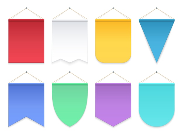 Driehoek hangende banners en vlaggen. stoffen wimpenteam