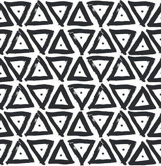 Driehoek inkt borstel decoratie naadloze patroon, set van penseelstreken vlekken. met de hand gemaakt creatief abstract ontwerp. vector