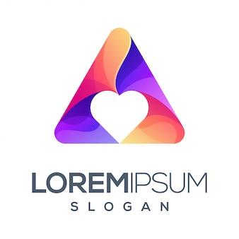 Driehoek liefde kleurverloop logo