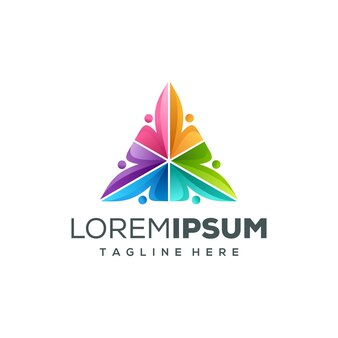 Driehoek mensen logo ontwerp