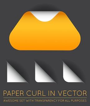 Driehoek met papierkrul met schaduwset.