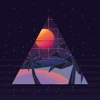 Driehoek met strandzonsondergang over zwarte achtergrond