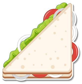 Driehoek sandwich sticker op witte achtergrond