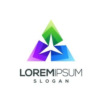 Driehoek ster kleurrijk verloop logo