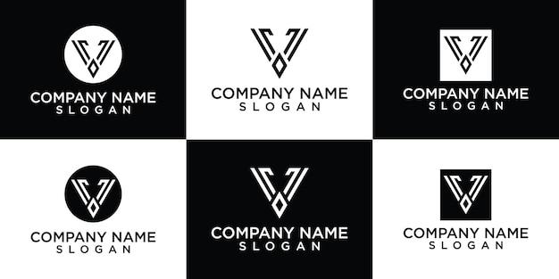 Driehoek v brief lijn kunst logo ontwerp vector