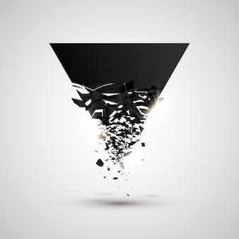 Driehoek zwarte deeltjes met explosief effect.