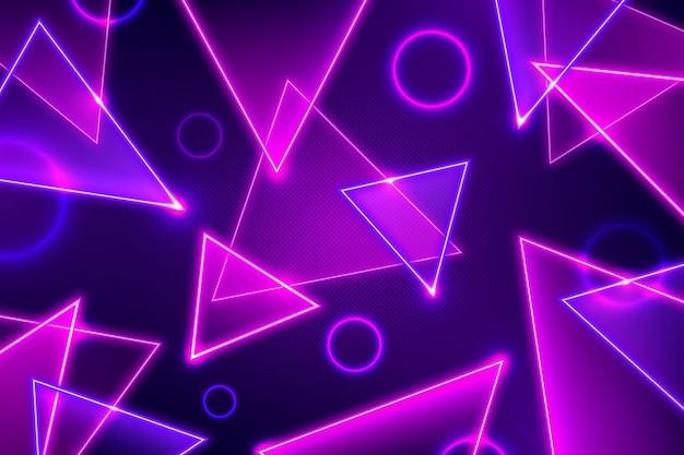 Driehoeken en cirkels abstracte neonlichtenachtergrond Gratis Vector
