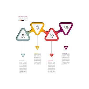 Driehoeken label infographic met stap voor stap.