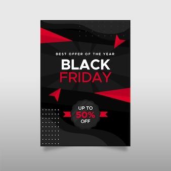 Driehoeken zwarte vrijdag platte ontwerpsjabloon folder