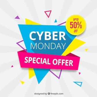 Driehoekig cyber maandag design in platte stijl