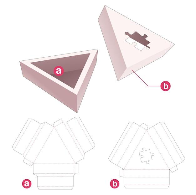 Driehoekige bak en deksel met een gestanste sjabloon in de vorm van een puzzel