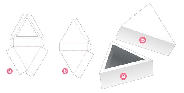 Driehoekige bak met deksel gestanst sjabloon