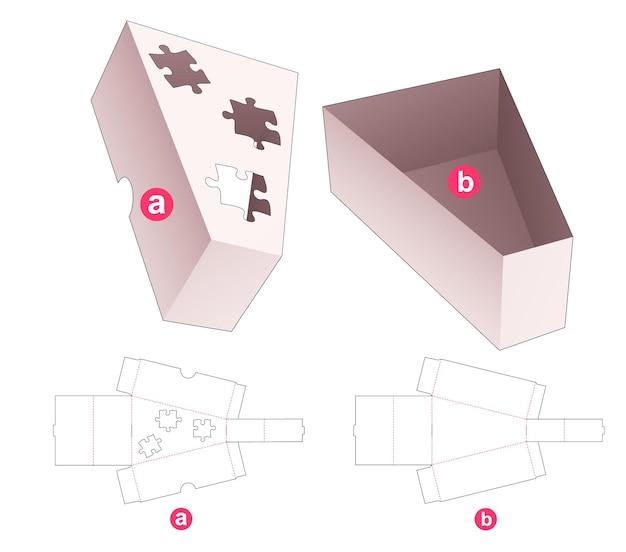 Driehoekige doos en deksel met een gestanste sjabloon in de vorm van een puzzel Premium Vector