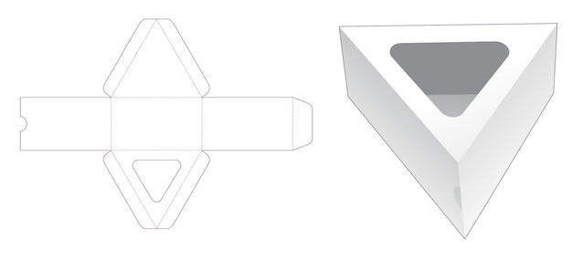 Driehoekige doos met driehoekig gestanst sjabloon voor vensters