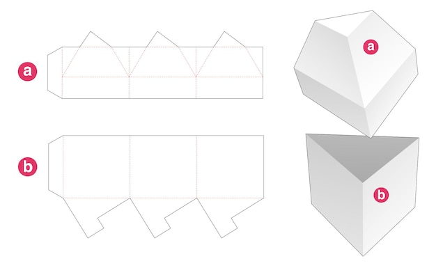 Driehoekige doos met driehoekige deksel gestanst sjabloon